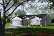 Adobe / Southwestern Style House Plan - 3 Beds 2 Baths 1478 Sq/Ft Plan #1-378 Exterior - Front Elevation
