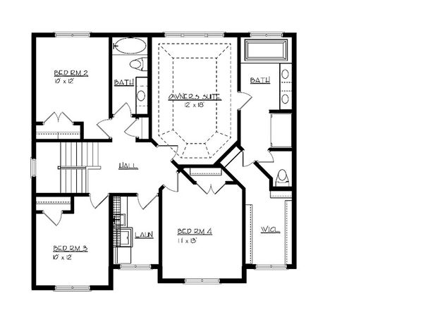 Craftsman Floor Plan - Upper Floor Plan Plan #320-494