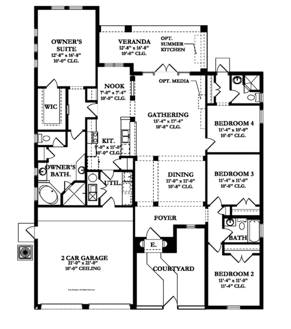 Mediterranean Floor Plan - Main Floor Plan Plan #1058-7