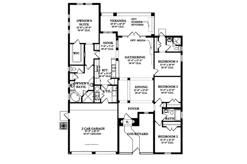 Mediterranean Floor Plan - Main Floor Plan Plan #1058-7