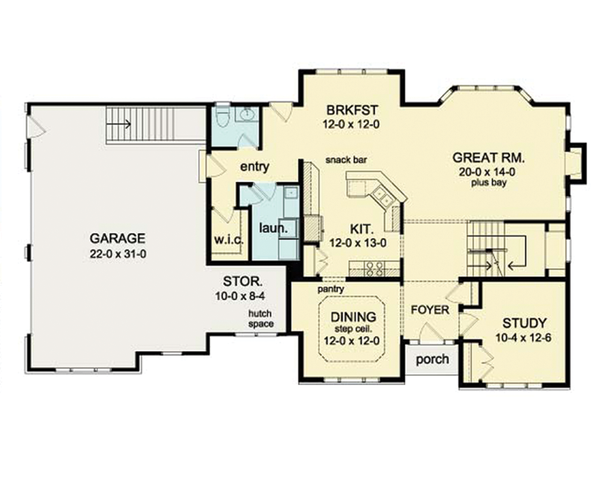 Colonial Floor Plan - Main Floor Plan Plan #1010-39