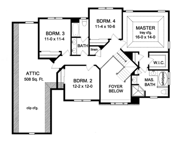 Colonial Floor Plan - Upper Floor Plan Plan #1010-60