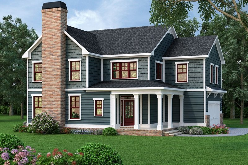 Traditional Style House Plan - 4 Beds 3.5 Baths 2369 Sq/Ft Plan #419-312 Exterior - Front Elevation