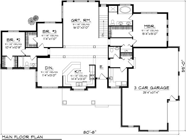 Ranch Floor Plan - Main Floor Plan Plan #70-1134