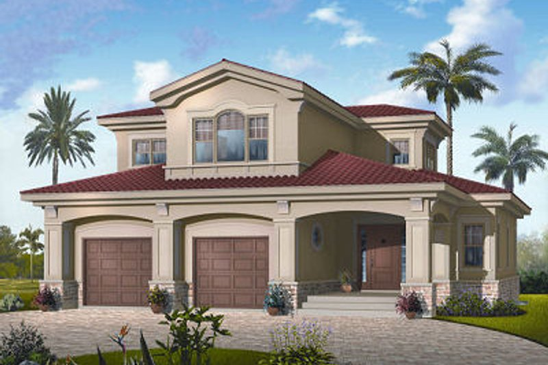 Mediterranean Exterior - Front Elevation Plan #23-728