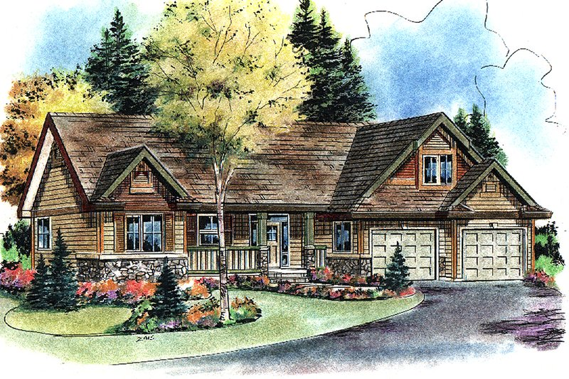 Craftsman Style House Plan - 2 Beds 2 Baths 1756 Sq/Ft Plan #18-4503 Exterior - Front Elevation