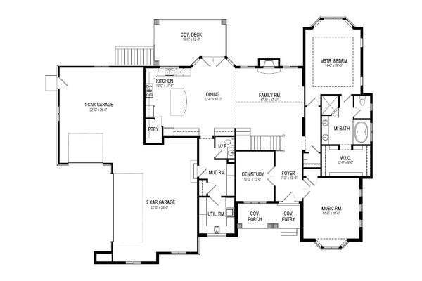 European Floor Plan - Main Floor Plan Plan #920-17