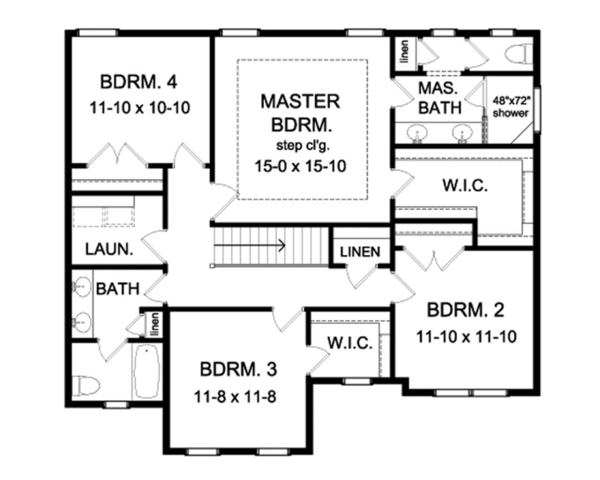 Architectural House Design - Colonial Floor Plan - Upper Floor Plan #1010-62
