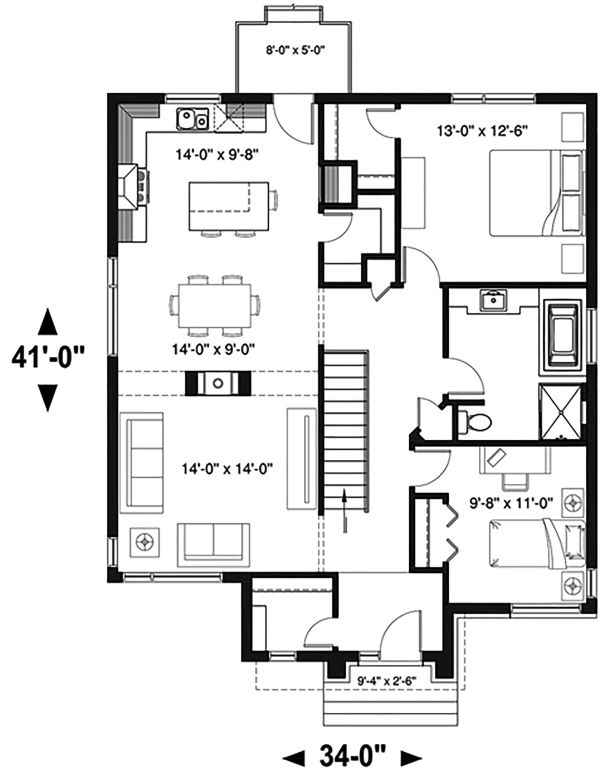 Contemporary Floor Plan - Main Floor Plan Plan #23-2714