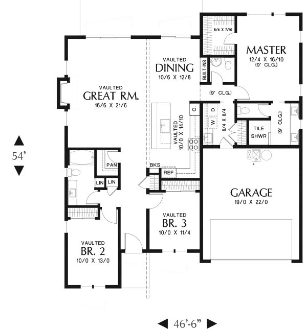 Contemporary Floor Plan - Main Floor Plan Plan #48-946