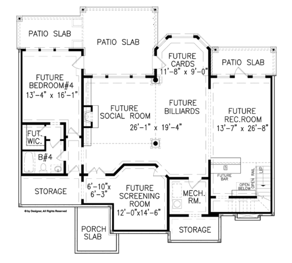 House Plan Design - Craftsman Floor Plan - Lower Floor Plan #54-369