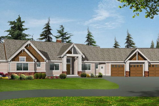 Craftsman Exterior - Front Elevation Plan #132-104