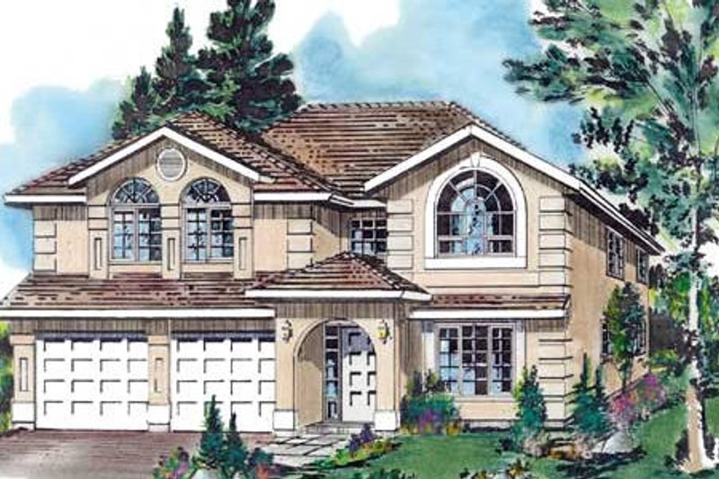 European Style House Plan - 4 Beds 2 Baths 1986 Sq/Ft Plan #18-228 Exterior - Front Elevation