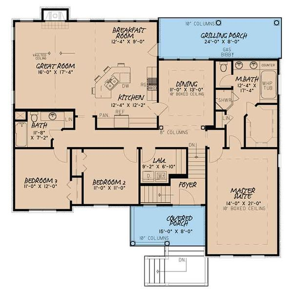 Traditional Floor Plan - Main Floor Plan Plan #17-3410