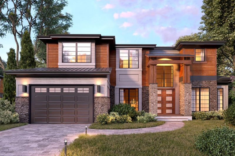 Contemporary Style House Plan - 5 Beds 4.5 Baths 4073 Sq/Ft Plan #1066-45 Exterior - Front Elevation