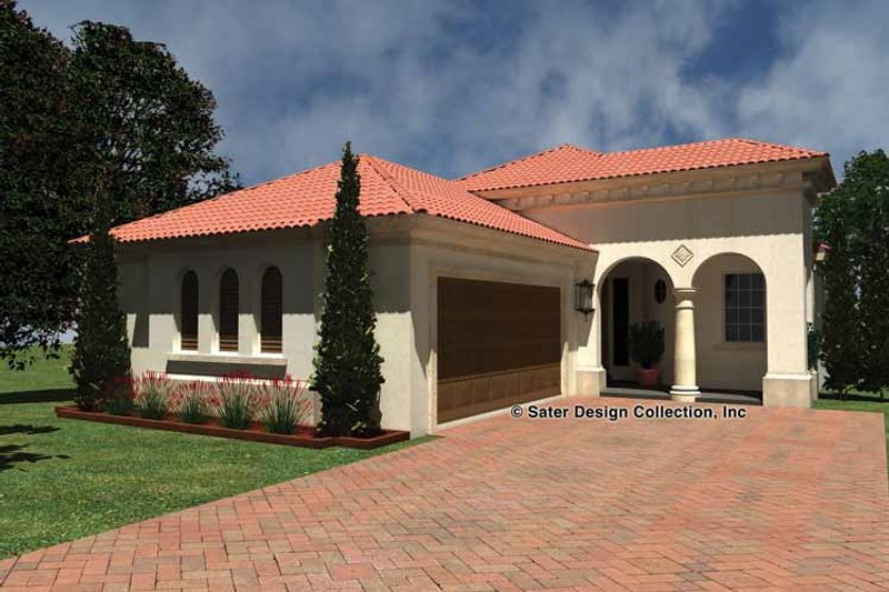 Mediterranean Style House Plan - 2 Beds 2 Baths 1753 Sq/Ft Plan #930-426 Exterior - Front Elevation