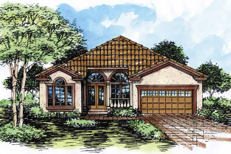 Mediterranean Exterior - Front Elevation Plan #320-520