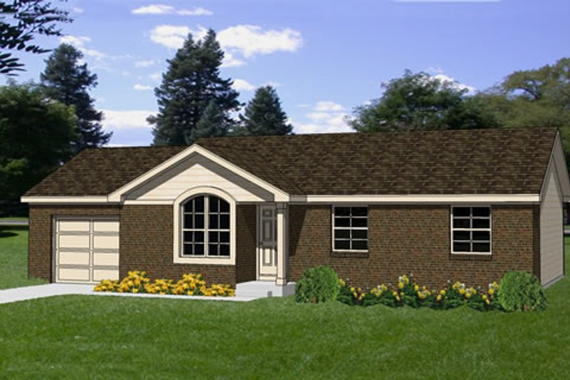 Ranch Style House Plan - 3 Beds 1 Baths 1008 Sq/Ft Plan #116-160 Exterior - Front Elevation