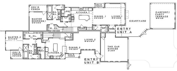 Craftsman Floor Plan - Main Floor Plan Plan #935-3
