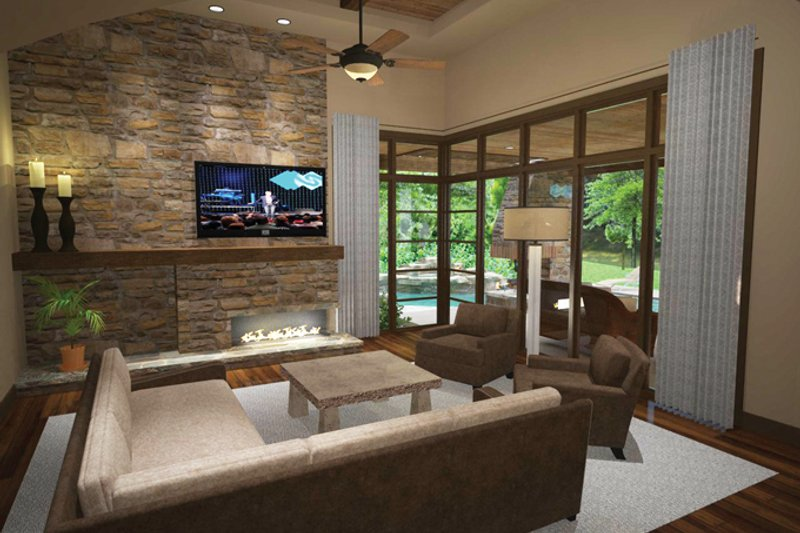 Cottage Interior - Family Room Plan #120-244 - Houseplans.com