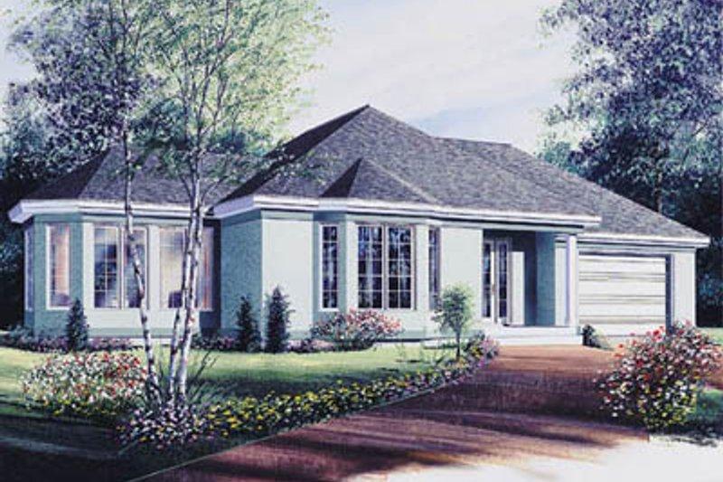 European Style House Plan - 2 Beds 1 Baths 1096 Sq/Ft Plan #23-1020 Exterior - Front Elevation