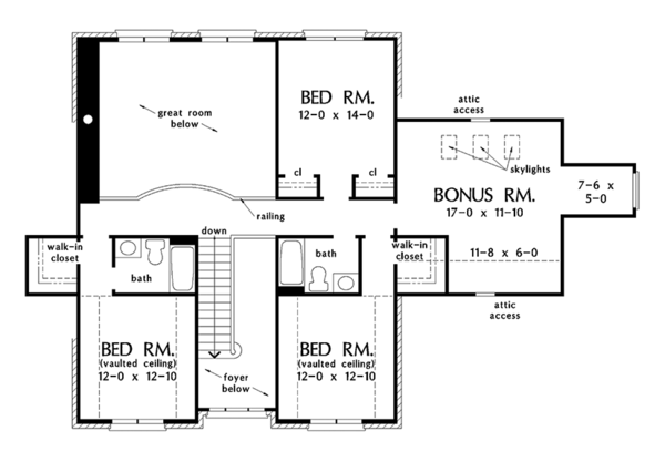 Traditional Floor Plan - Upper Floor Plan Plan #929-1017