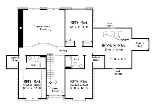 Traditional Floor Plan - Upper Floor Plan #929-1017