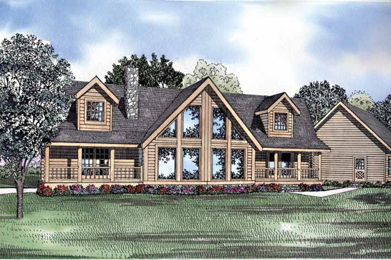 Log Exterior - Front Elevation Plan #17-3123