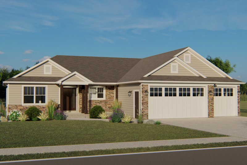 Craftsman Style House Plan - 3 Beds 2 Baths 1836 Sq/Ft Plan #1064-62 Exterior - Front Elevation