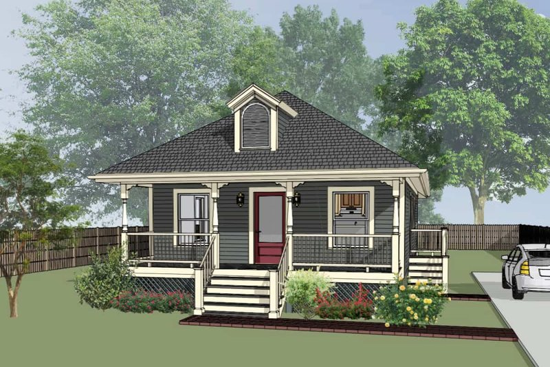 Cottage Style House Plan - 3 Beds 2 Baths 1056 Sq/Ft Plan #79-127 Exterior - Front Elevation