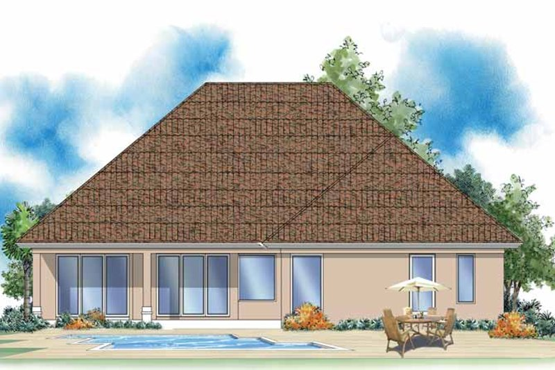 Mediterranean Exterior - Rear Elevation Plan #930-377 - Houseplans.com