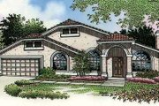 Mediterranean Style House Plan - 3 Beds 2 Baths 1723 Sq/Ft Plan #320-393 Exterior - Front Elevation