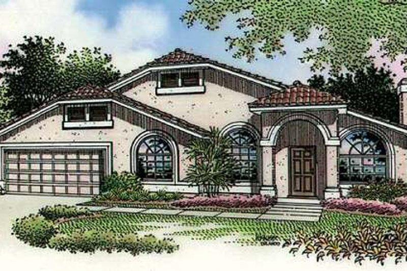 Dream House Plan - Mediterranean Exterior - Front Elevation Plan #320-393