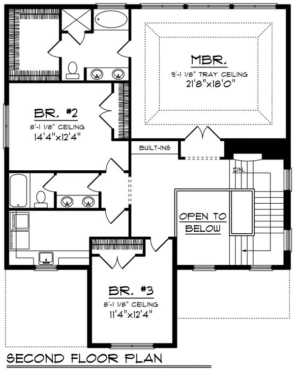 Traditional Floor Plan - Upper Floor Plan Plan #70-1201