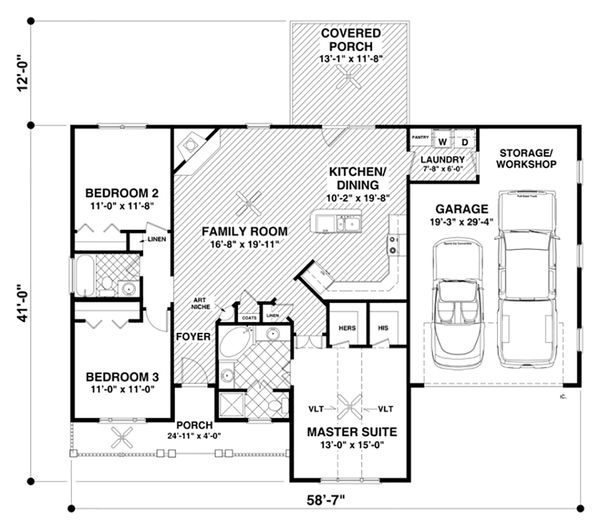 Ranch Style House Plan - 3 Beds 2 Baths 1457 Sq/Ft Plan #56-620 Floor Plan - Main Floor Plan