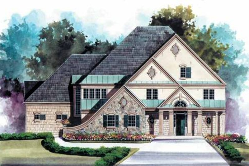 European Style House Plan - 5 Beds 5.5 Baths 3691 Sq/Ft Plan #119-125 Exterior - Front Elevation