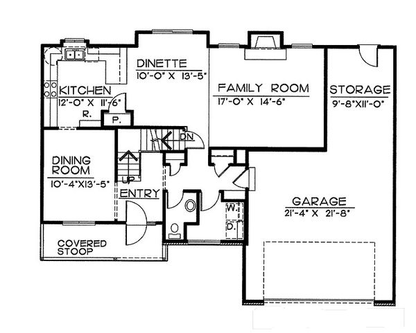 Traditional Floor Plan - Main Floor Plan Plan #20-2051