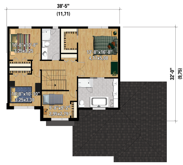 Contemporary Floor Plan - Upper Floor Plan Plan #25-4282
