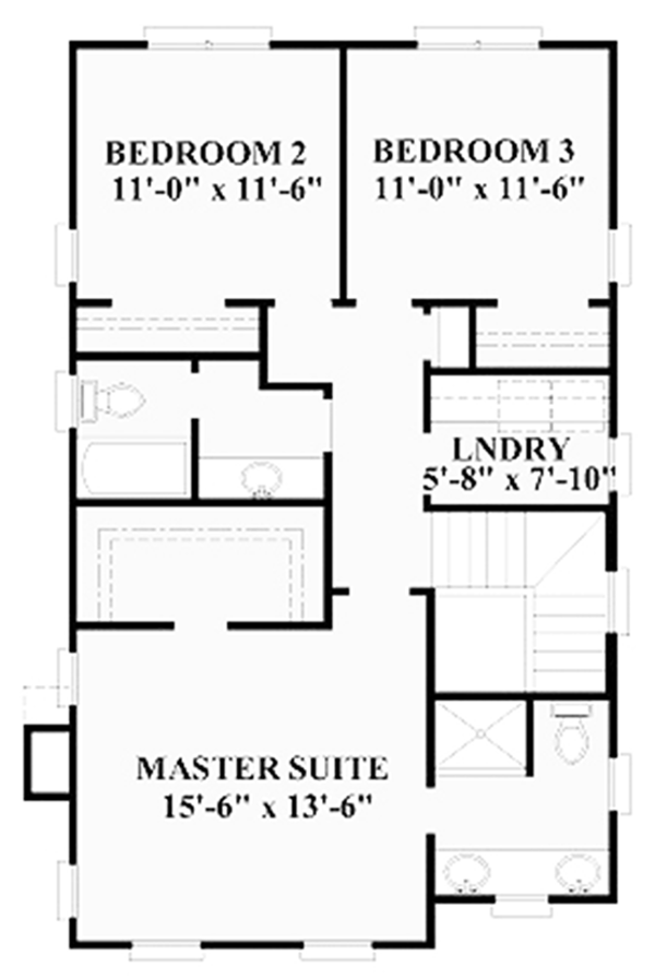 Traditional Floor Plan - Upper Floor Plan Plan #991-23