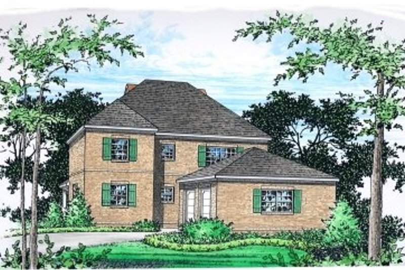 European Style House Plan - 3 Beds 2.5 Baths 2980 Sq/Ft Plan #15-256 Exterior - Front Elevation
