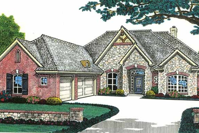 Country Exterior - Front Elevation Plan #310-1199