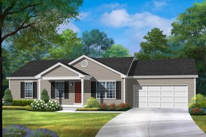 Ranch Exterior - Front Elevation Plan #22-576