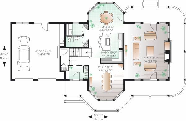 Traditional Floor Plan - Main Floor Plan Plan #23-808