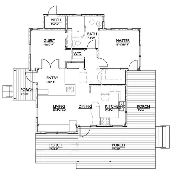 800 square foot 2 bedroom modern cabin house plan