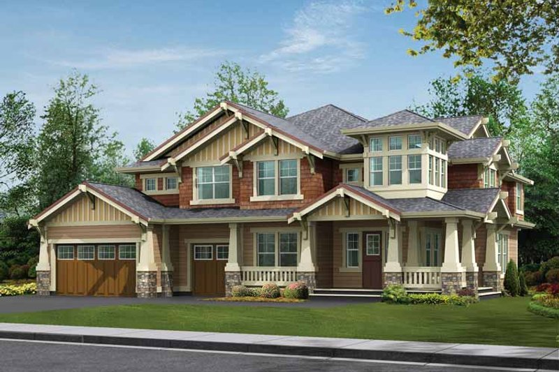 Architectural House Design - Craftsman Exterior - Front Elevation Plan #132-240