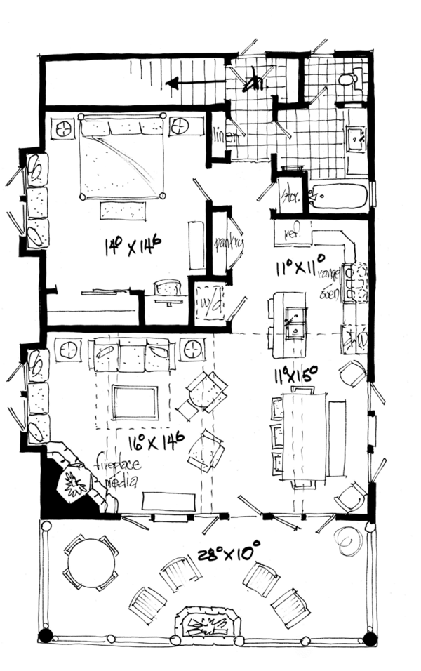 Country Floor Plan - Main Floor Plan Plan #942-20