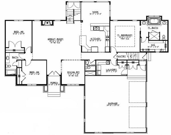 European Floor Plan - Main Floor Plan Plan #1064-1