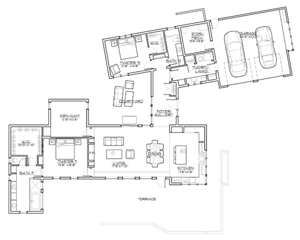 Contemporary Floor Plan - Main Floor Plan Plan #892-18