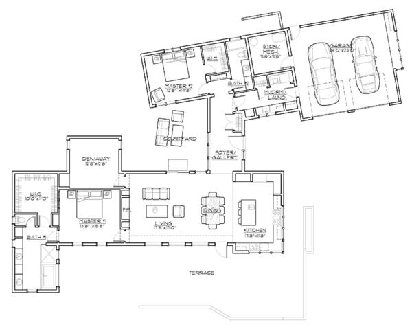 Contemporary Floor Plan - Main Floor Plan Plan #892-18