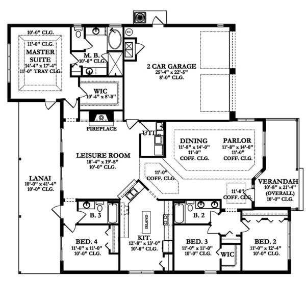 Colonial Floor Plan - Main Floor Plan Plan #1058-156